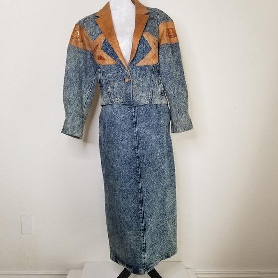 Vintage 80s Acid Wash Denim and Leather Skirt Suit