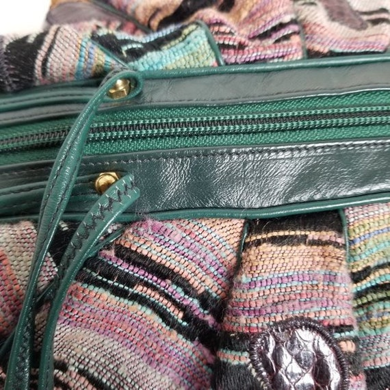 Vintage 80s Sharif Tapestry & Leather Pouch Bag - image 10