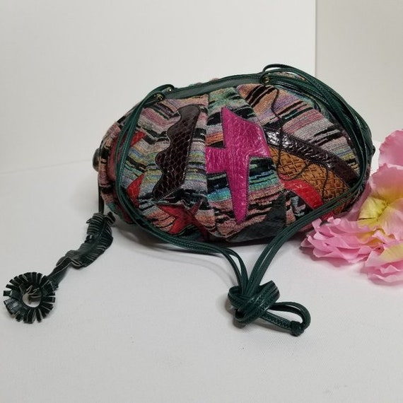 Vintage 80s Sharif Tapestry & Leather Pouch Bag