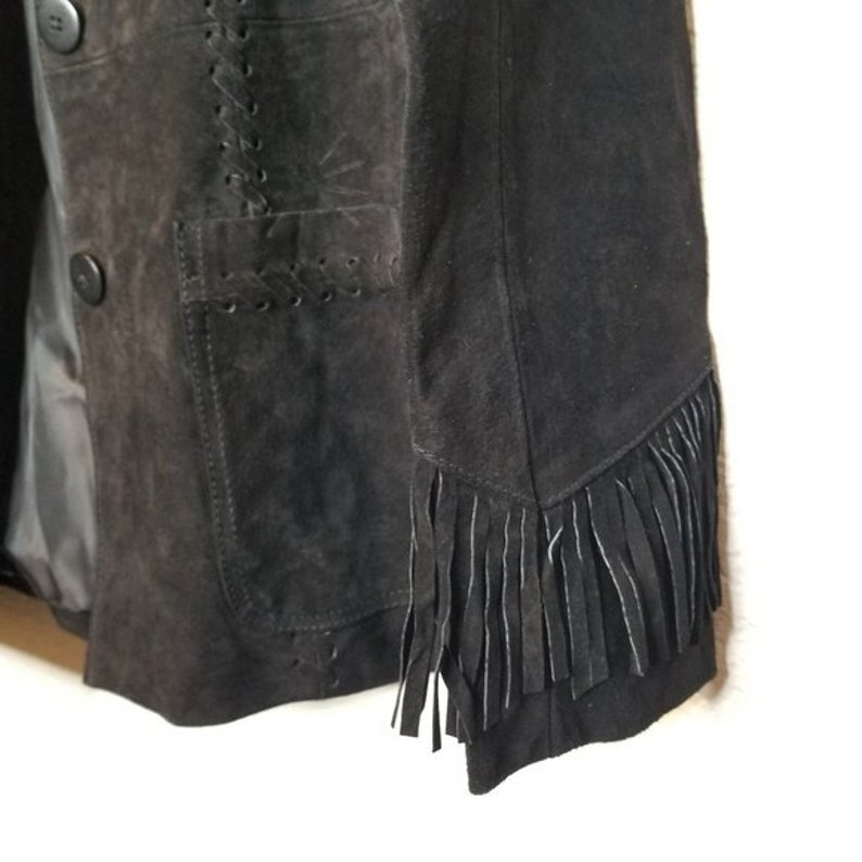 Vintage Black Suede Fringe Jacket 80s Western Jacket Plains Coat