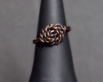 bb12a557e2 Elegant flower wired ring, Unique copper wired ring for her, Antique copper  ring, gift for Her, Flower wired ring US size 8