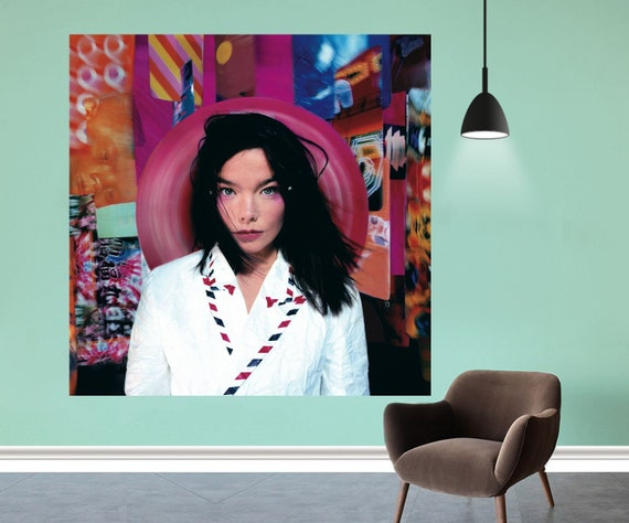 "Post Bjork Björk Album Poster Music Cover Art Silk Fabric Cloth Print Decor   Size 12x12"" 20x20"" 24x24"" 27x27"" 32x32"" by Etsy"