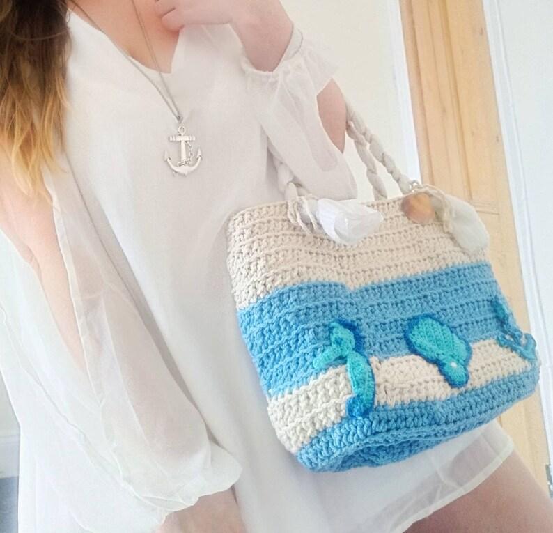gift idea Tote style marine theme holiday beach bag Handmade crocheted Beach Bag