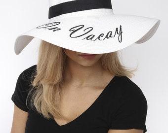 5bae431fa5946 Floppy Wide Brim Straw Hat Slogan - On Vacay
