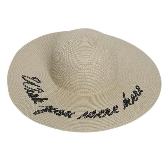 b9b88a710 Floppy Wide Brim Straw Hat Slogan Wish you were here | Etsy