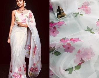 191d152eec7276 Organza silk saree, white saree, saree for women, fancy saree, designer  saree, indian saree, beautiful saree, saree blouse, saree