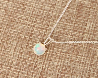 gemstone necklace Silk necklace with opals dainty natural minimalist Welo opals opals round