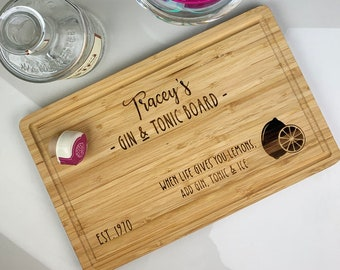 Gin /& Tonic Cutting Board Valentines Day Gift Personalised Gift.
