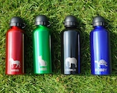 Kids Personalised Water Bottle, Engraved 650ml Aluminium Sippy Cups for Girls Boys, Animal Creature Icon Drinks Bottle, Custom Tumbler