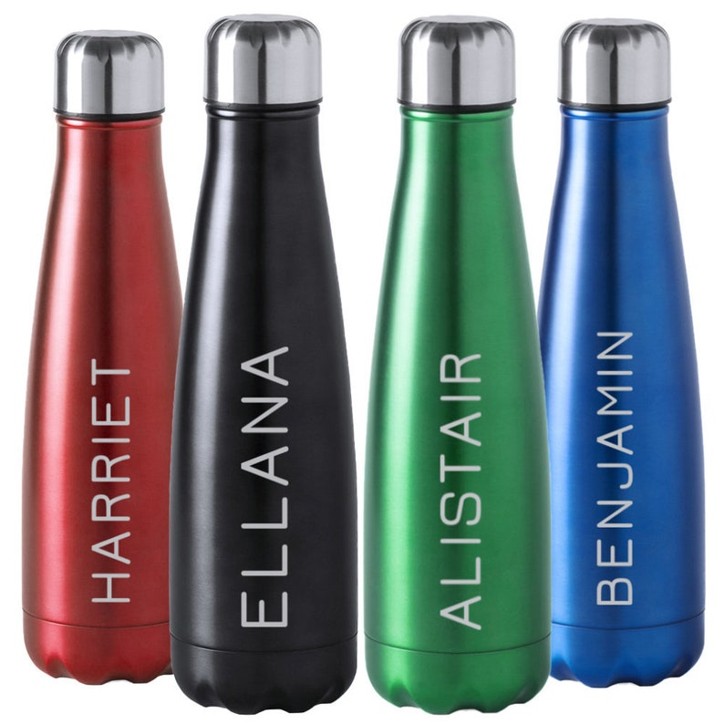 Personalised Metal Water Bottle,For School Work and Travel Custom Permanent Laser Engrave with Any Name