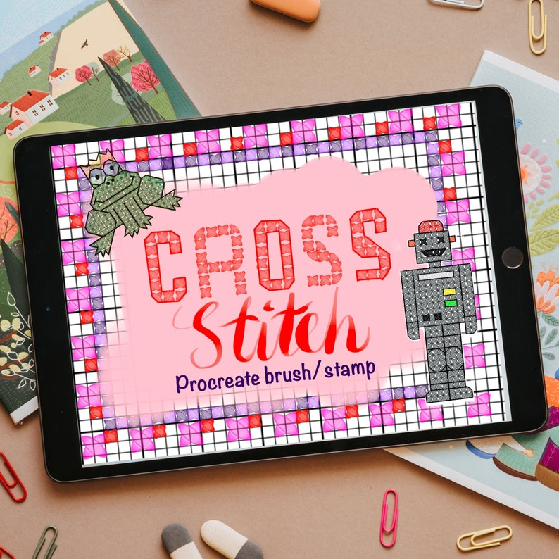 cross stitch procreate brush pack digital download 5 brushes embroidery stamp