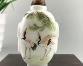 Glazed snuff bottle handmade painting crane beautiful shape
