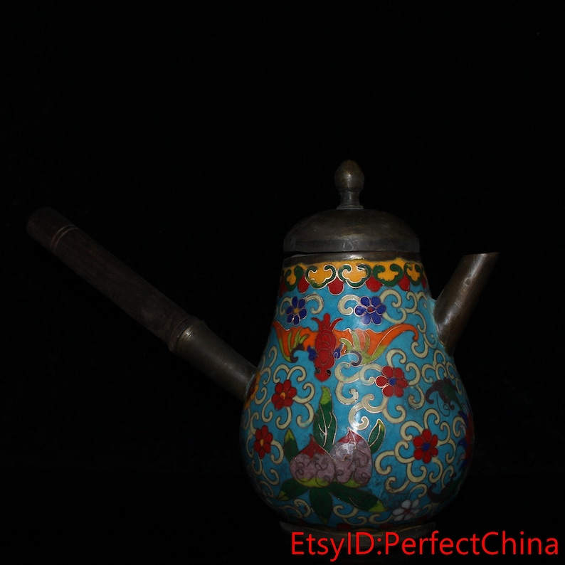 Chinese antique collection cloisonne wooden handle hip flask
