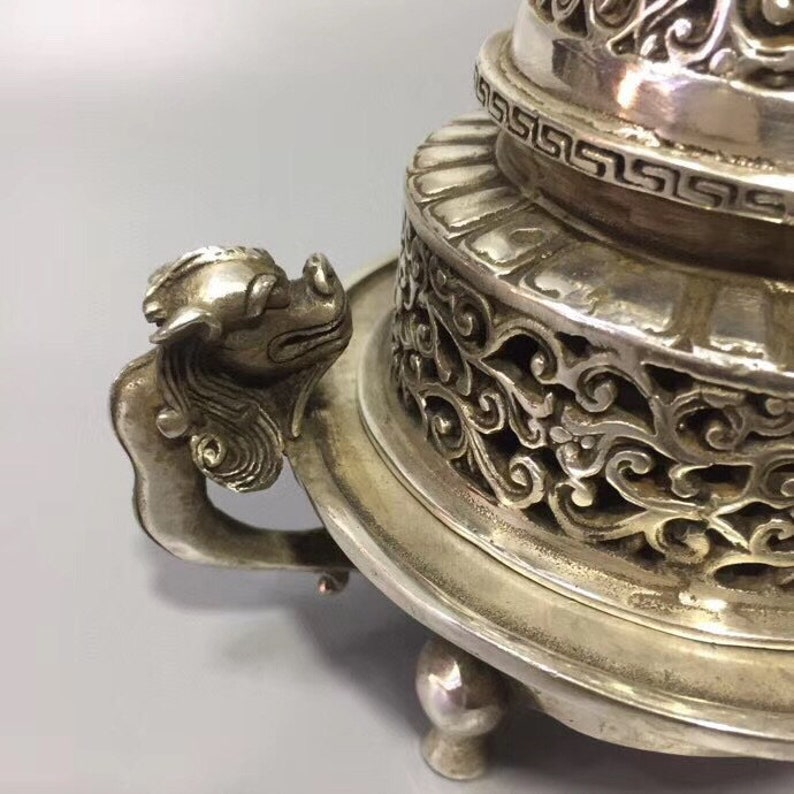 Chinese antique Tibetan silver hand carved ancient incense burner