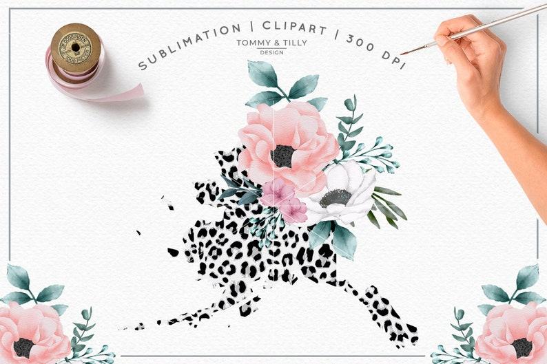 Digital Download Birthday Scrapbooking America Map Flower White Leopard Alaska State Sublimation Clipart Design PNG Kids