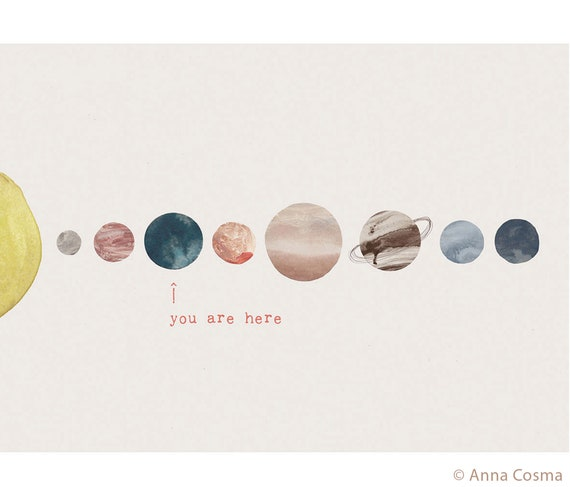 Tote Bag You are here Anna Cosma Cotton Bag Bag Planets  Jute Pouch Galaxy Cotton Sustainable Zero Waste
