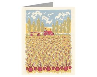 Beetroot, Linocut print card, Art Card