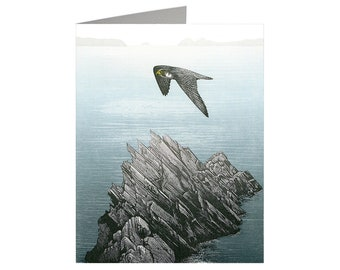Peregrine, Art Card, Greeting Card, Relief Print