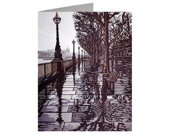Southbank Puddles, Art Card, Linocut Card, London Card, London Print