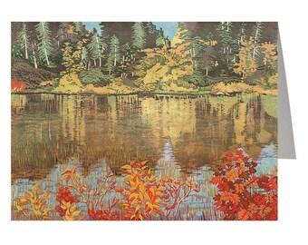 Riverbank, Art Card, Linocut Card, Greeting Card, Lino cut Print