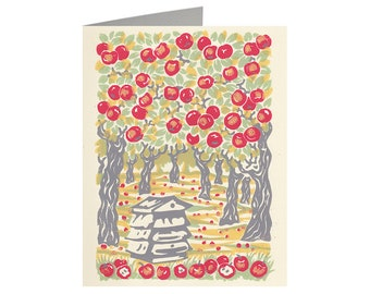 Honey and Apples, Art Card, Linocut print