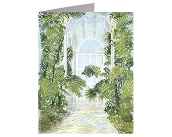 Arched Doorway the Palm House, Art Card, Linocut Card, Greeting Card, Lino cut Print