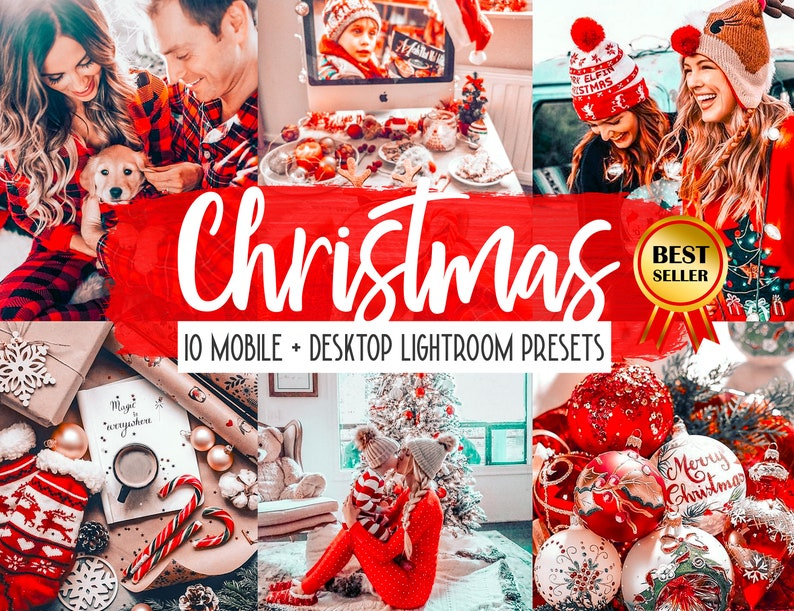 10 Lightroom Mobile Presets Merry Christmas Filter Warm Red image 0