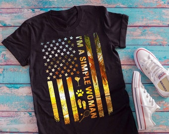 f6081c28 I'm A Simple Woman wine Beach Summer USA Flag T-Shirt, American flag shirt,  father's day, mother's day gift, flip flops, dog, tennis tshirt