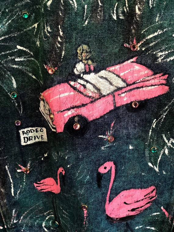 Handmade bedazzled PINK CADILLAC Hollywood denim … - image 4