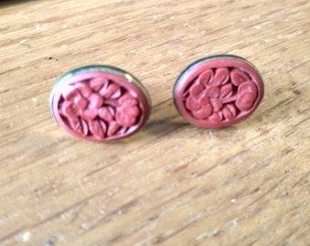 Vintage Carved Cinnabar Vermeil Post Earrings