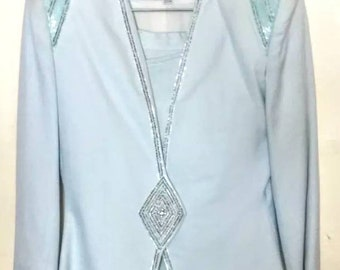 Nolan Miller vintage sea foam two piece skirt suit with beading size 4