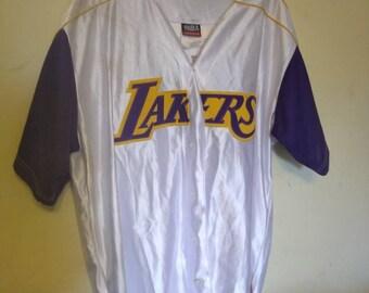 Majestic Lakers #8 Kobe Bryant  white short sleeve jersey size xl