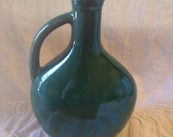 "Vintage Dolfi 7"" Dark Green Amphora Vase"