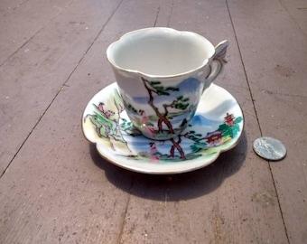 Kosen Kutani Miniature Cup and Saucer
