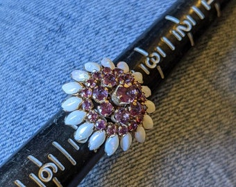 Vintage Siam 14k Garnet and Marquis Opal Cocktail Ring 4.5