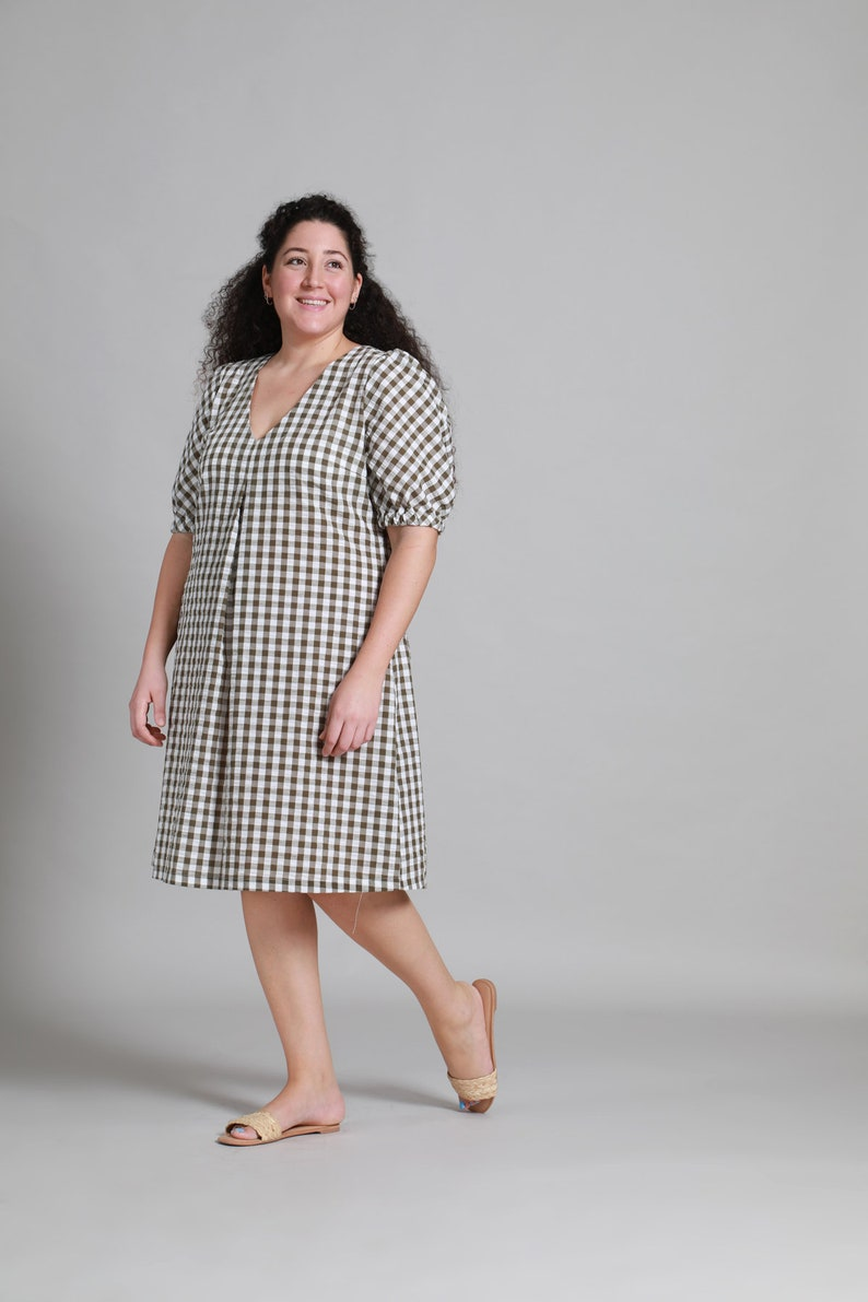 Inlaid Olive GreenBrown Papita Dress  Plus Size Dress Long Dress
