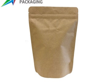 Zip Lock Food Foil Bags 100 pcs Kraft Paper Stand Up Doy Pouch Various Sizes