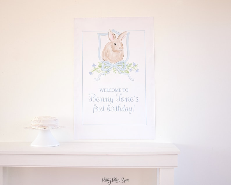 1023 Bunny 1st Birthday for a Boy Watercolor Some Bunny is ONE Welcome Sign 24/'/'x36/'/' Watercolor Bunny Birthday Welcome Sign