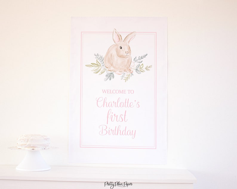 24/'/'x36/'/' 1023 Watercolor Pink Bunny Birthday Welcome Sign Watercolor Some Bunny is ONE Sign Bunny First Birthday for Girl Party Decor