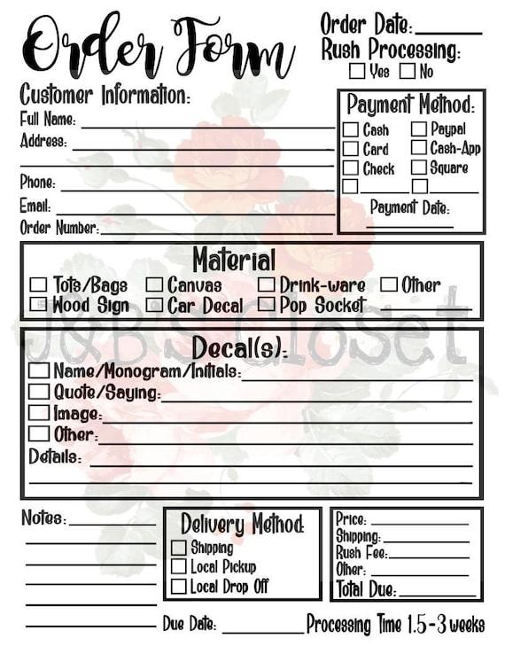 order form svg  Updated! Universal Order Form *SVG/PNG/JPEG* Fillable pdf
