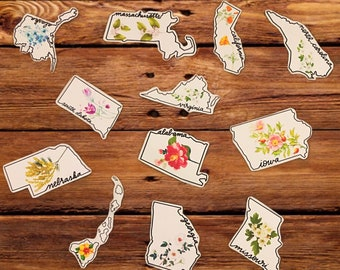 State Flower Stickers, US State Stickers, State Stickers, Vinyl Stickers, Vinyl Stickers for Laptop, USA States, Floral Stickers