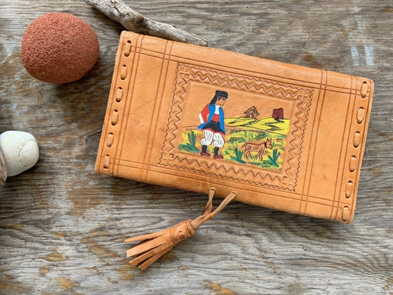 ETHNIC PAINTED WALLET | Boho Folk Leather Wallet |