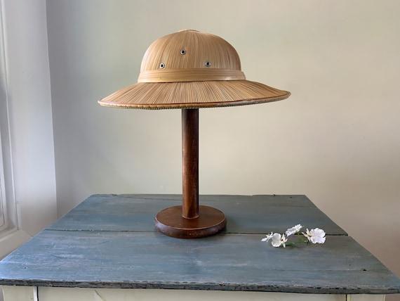 JUNGLE-SAFARI HAT: Woven Pith Helmet Vintage Straw