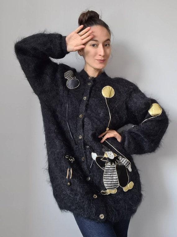 Ayesha Creations England mohair cardigan, applique