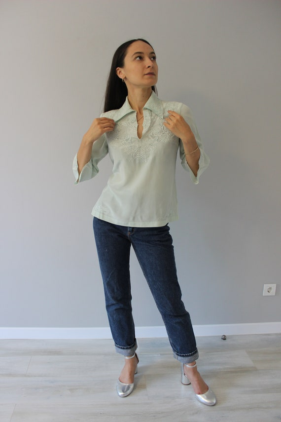 Vintage blouse from Peony, made in shanghai, pista