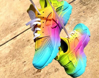 16adf67e6be09 New   Custom Bright Rainbow Ombre Nike Huaraches