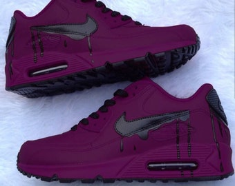free shipping 09bb4 bad9d New   Custom Purple And Black Drip Nike Air Max 90