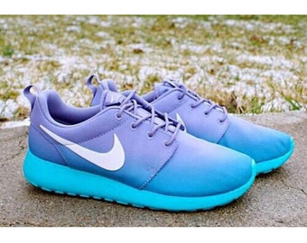 0a24a5750 New & Custom Ombre Teal And Purple Nike Roshe One