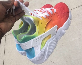 separation shoes c8f05 17eac New   Custom Rainbow Ombre White Nike Huaraches