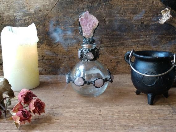 Handmade Potion Bottle, Witch's Bottle, Potion Bottle, Rose Quartz Bottle, Druzy Bottle, Magic Bottle, Spell Bottle